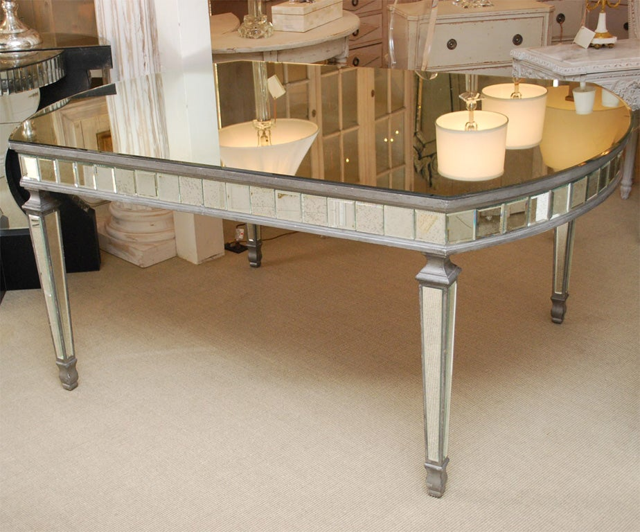 Art Deco Oval Mirrored Dining Table 3 - Art Deco Oval Mirrored Dining Table At 1stdibs