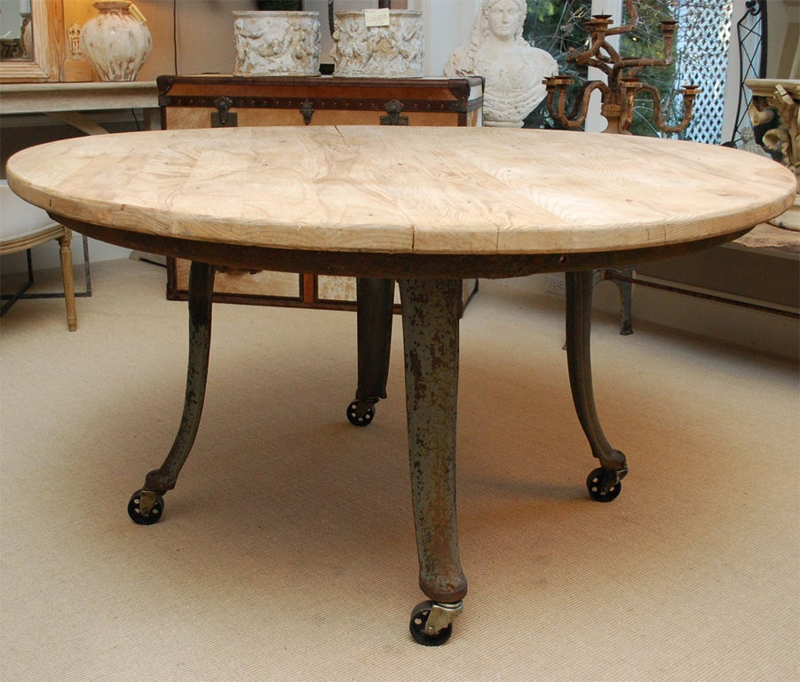 Industrial Round Dining Table: Industrial Round Dining Table At 1stdibs