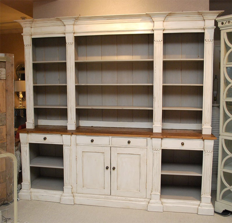 Large french country cabinet with shelves and drawers at for French country shelves