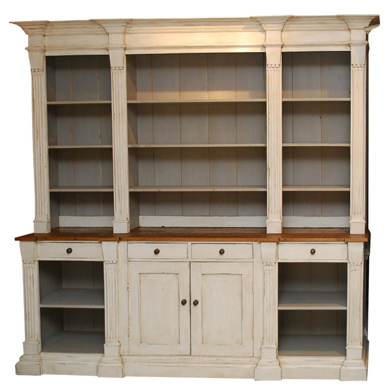 Large French Country Cabinet With Shelves And Drawers At