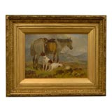 English oil painting of sporting dogs and horse