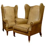 pair English Leather wing chairs