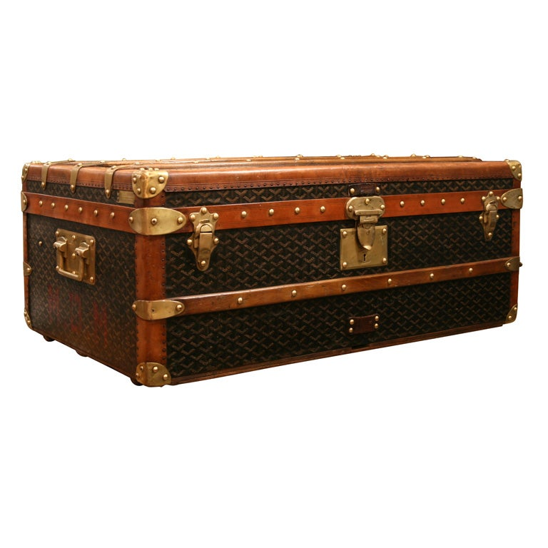 Lv Trunk Coffee Table: Goyard Steamer Trunk At 1stdibs