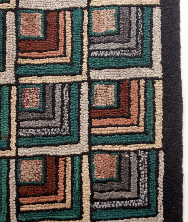Antique Hooked Rug:  Geometric Log Cabin 2