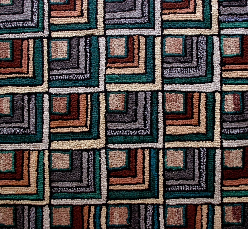 Antique Hooked Rug:  Geometric Log Cabin 3