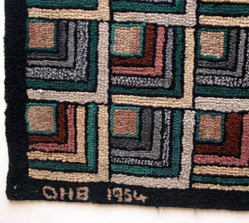 Antique Hooked Rug:  Geometric Log Cabin 4