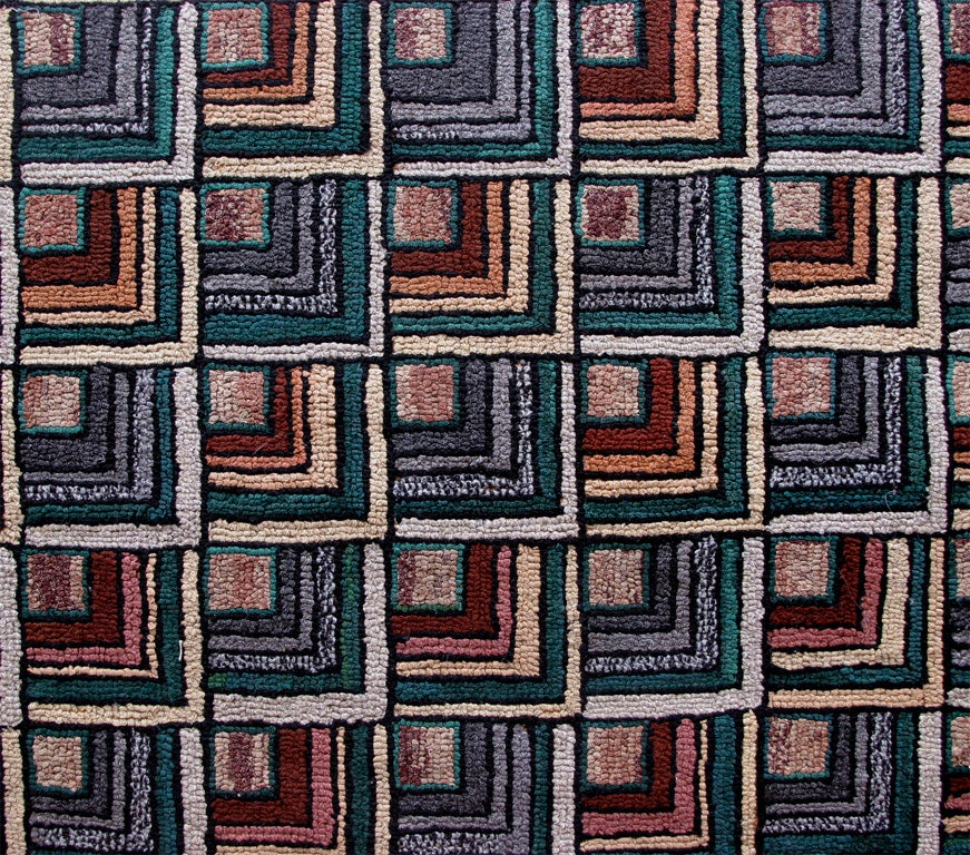 Antique Hooked Rug:  Geometric Log Cabin 5