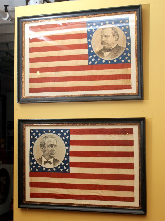 Pair of flags with 38 stars. The Grover Cleveland flag is printed in reverse. This portrait was derived from an engraving published by Atlantic Publishing Company. The second flag is printed with portrait of Thomas A. Hendricks, patented September