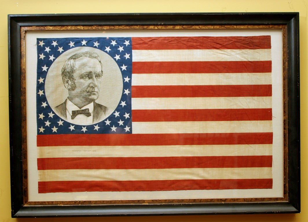 American Pair of Framed Campaign Bandannas, Cleveland and Hendricks For Sale