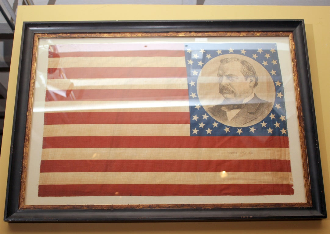 Pair of Framed Campaign Bandannas, Cleveland and Hendricks In Excellent Condition For Sale In New York, NY