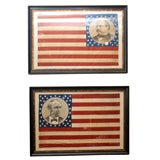 Pair of Framed Campaign Bandannas, Cleveland and Hendricks