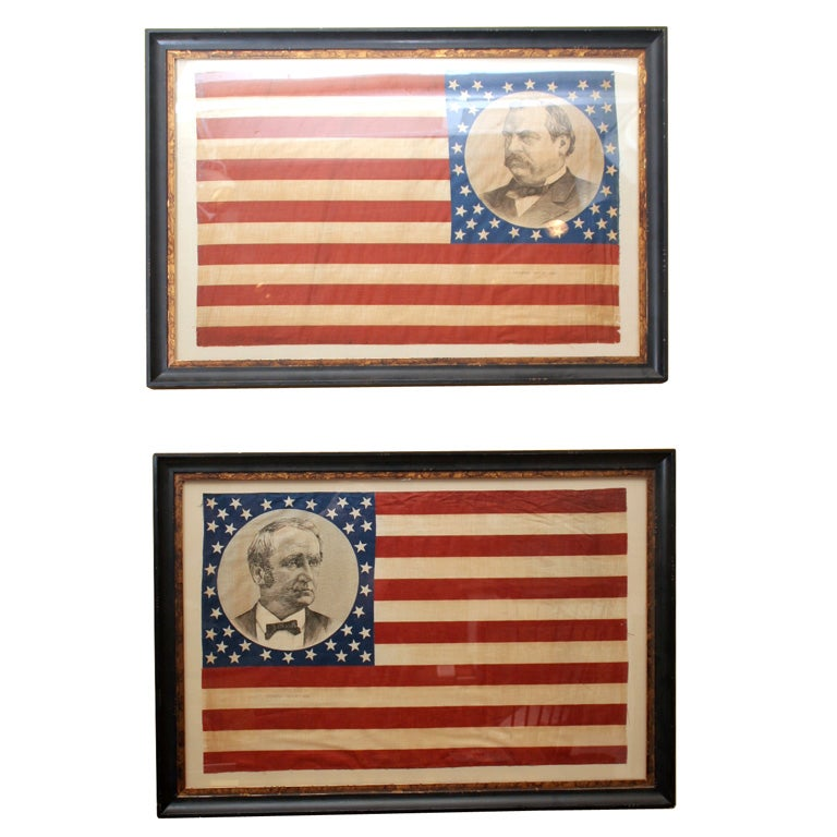 Pair of Framed Campaign Bandannas, Cleveland and Hendricks For Sale