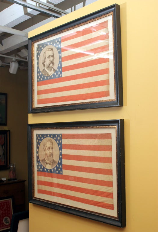 U.S. flags, with 38 stars and portraits of James G. Blaine and John A. Logan. Examples of Blaine bandanna also printed in reverse, with field on left. Both flags patented September 4, 1883. Ref. Threads of History, Plates 527, 528, Smithsonian