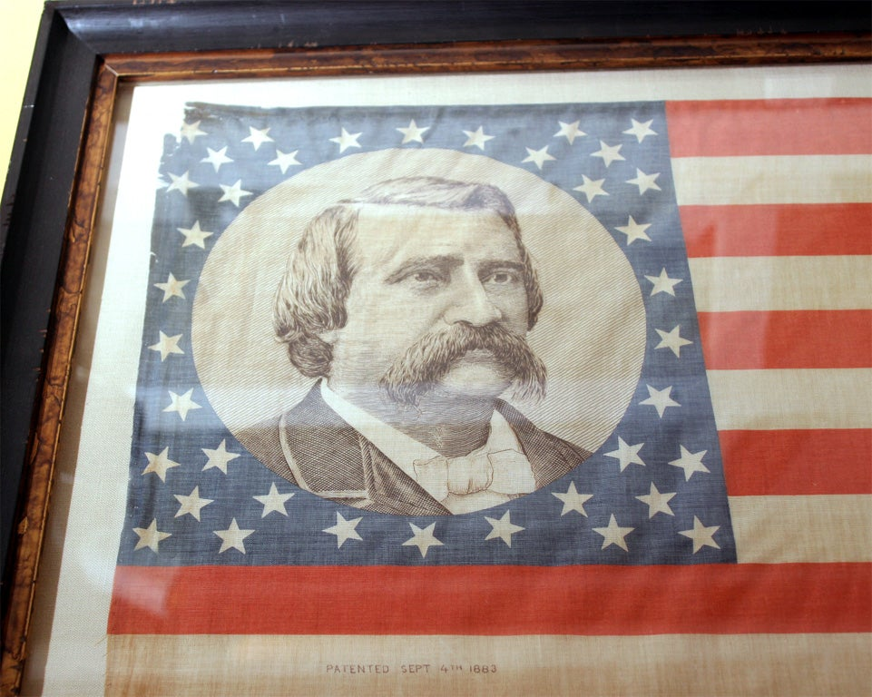 19th Century Pair of Framed Campaign Bandannas, Blaine and Logan For Sale