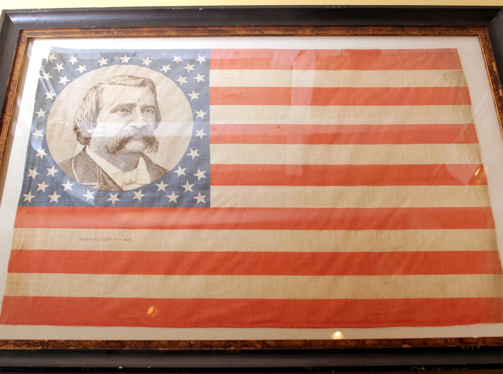 Pair of Framed Campaign Bandannas, Blaine and Logan For Sale 2