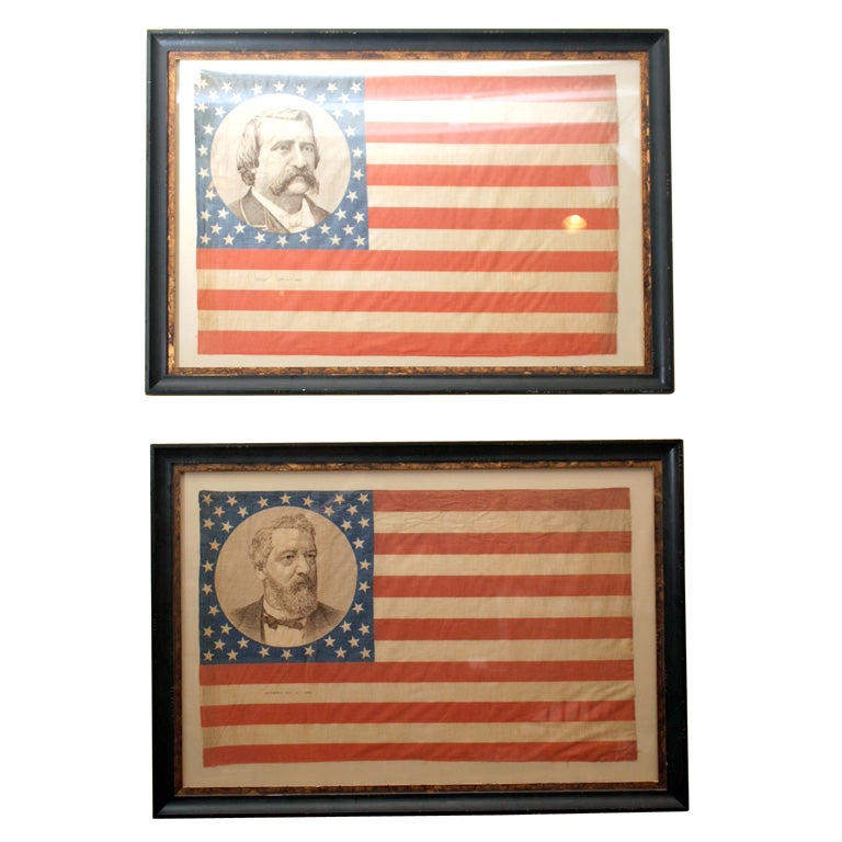 Pair of Framed Campaign Bandannas, Blaine and Logan For Sale