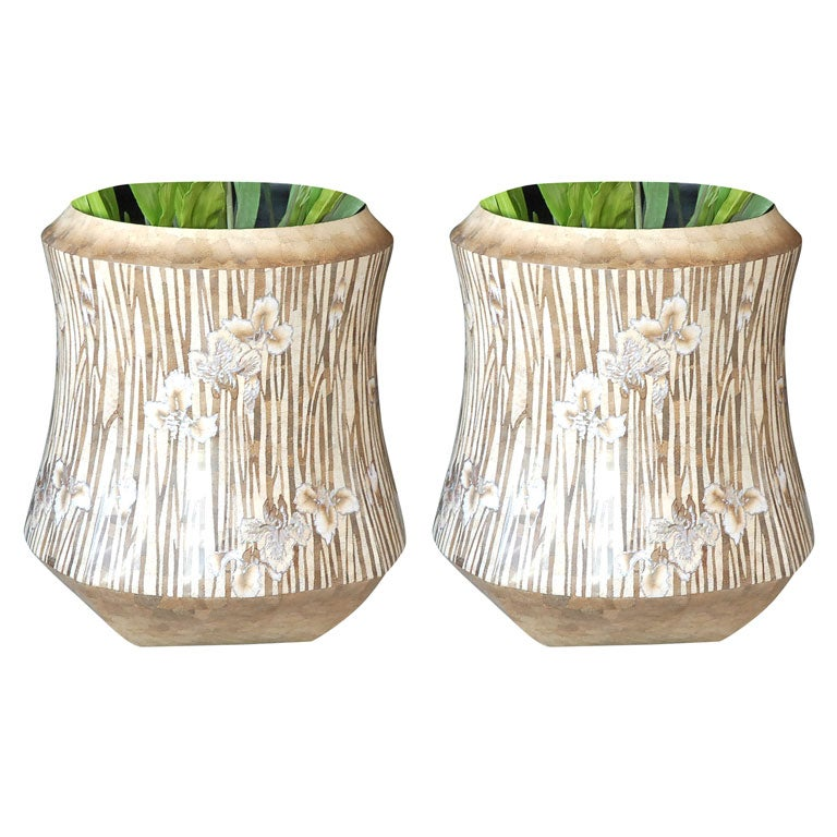 Pair of large decorative planters by d k home at 1stdibs - Large decorative vases and urns ...