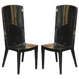 High Back High Gloss Black Lacquer Chair