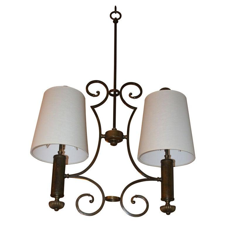 Italian Brass Lantern with Linen Shades