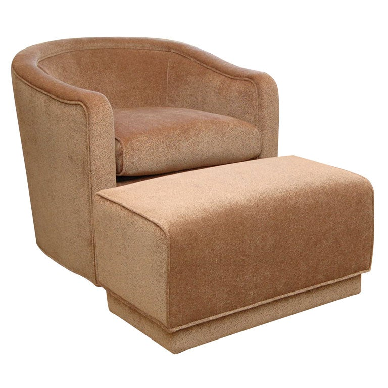 Pair Of Luxurious Club Chairs And Matching Ottomans At 1stdibs