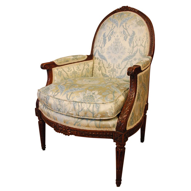 french louis xvi period bergere chair at 1stdibs. Black Bedroom Furniture Sets. Home Design Ideas