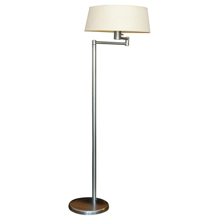 Walter Von Nessen plated & brushed floor lamp