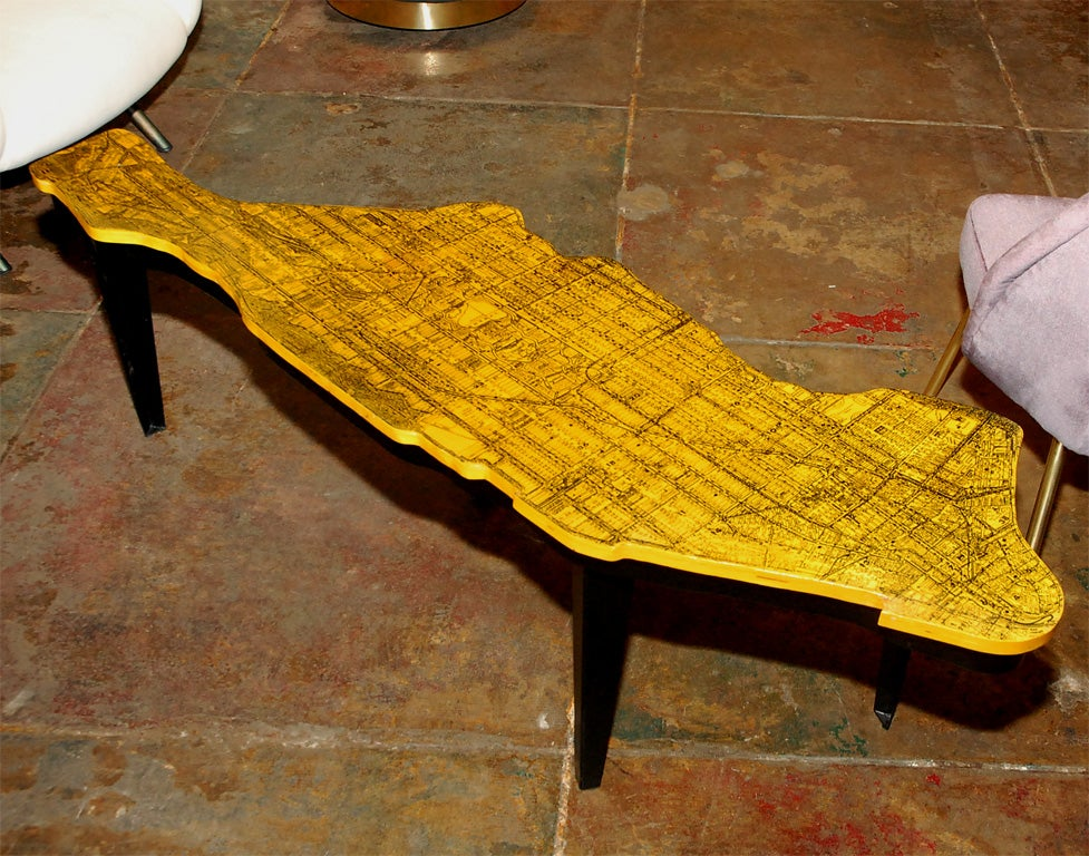 One of a kind coffee table of Manhattan.  Impeccable detail and design. Table top is made of birch.