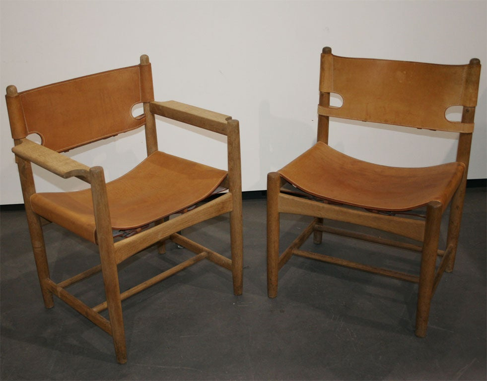 set of six leather 39 spanish 39 dining chairs by borge