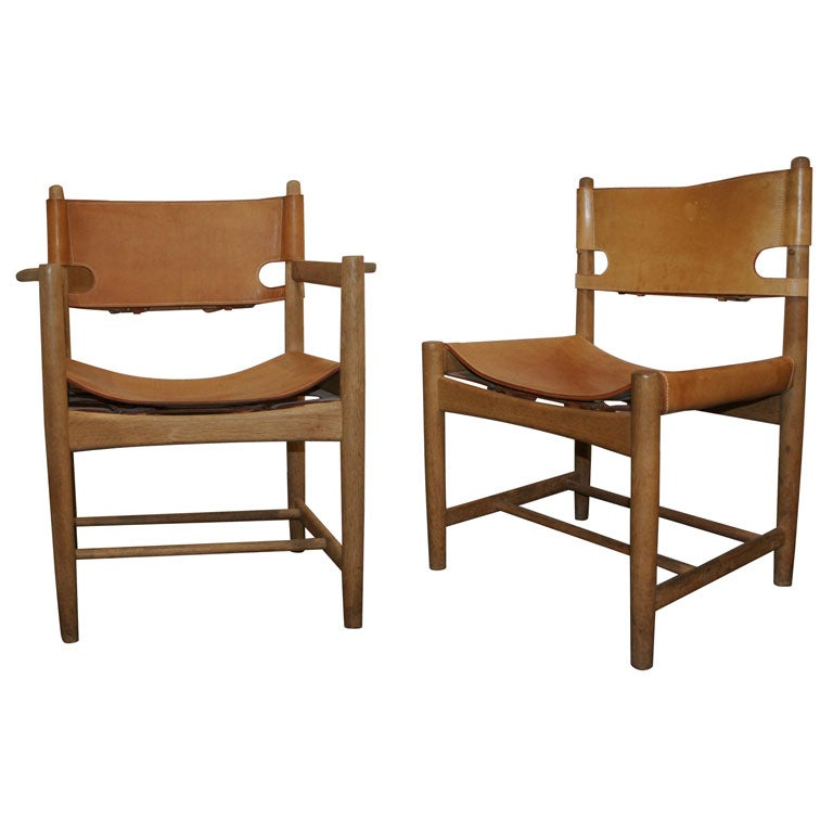 Set Of Six Leather U0027Spanishu0027 Dining Chairs By Borge Mogensen 1