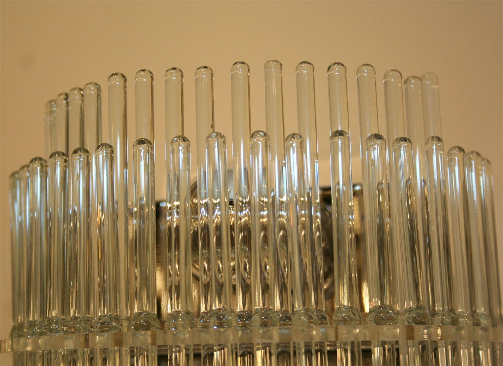 Glass Rod Wall Sconces : Pair of Glass Rod and Chrome Sconces at 1stdibs