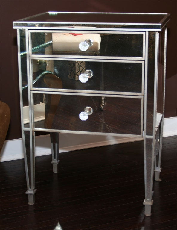 American Pair of Custom Mirrored Silver Trim Commodes For Sale