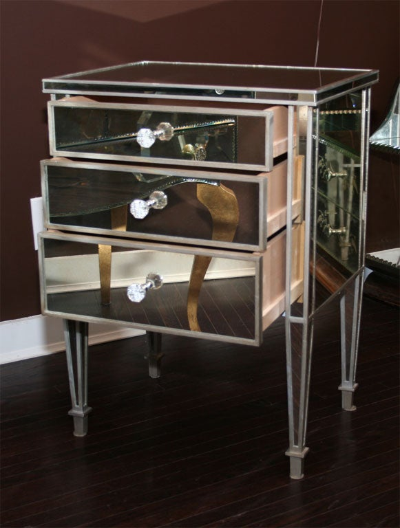 Contemporary Pair of Custom Mirrored Silver Trim Commodes For Sale