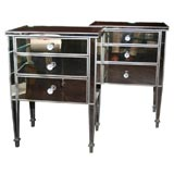 Pair of Custom Mirrored Silver Trim Commodes