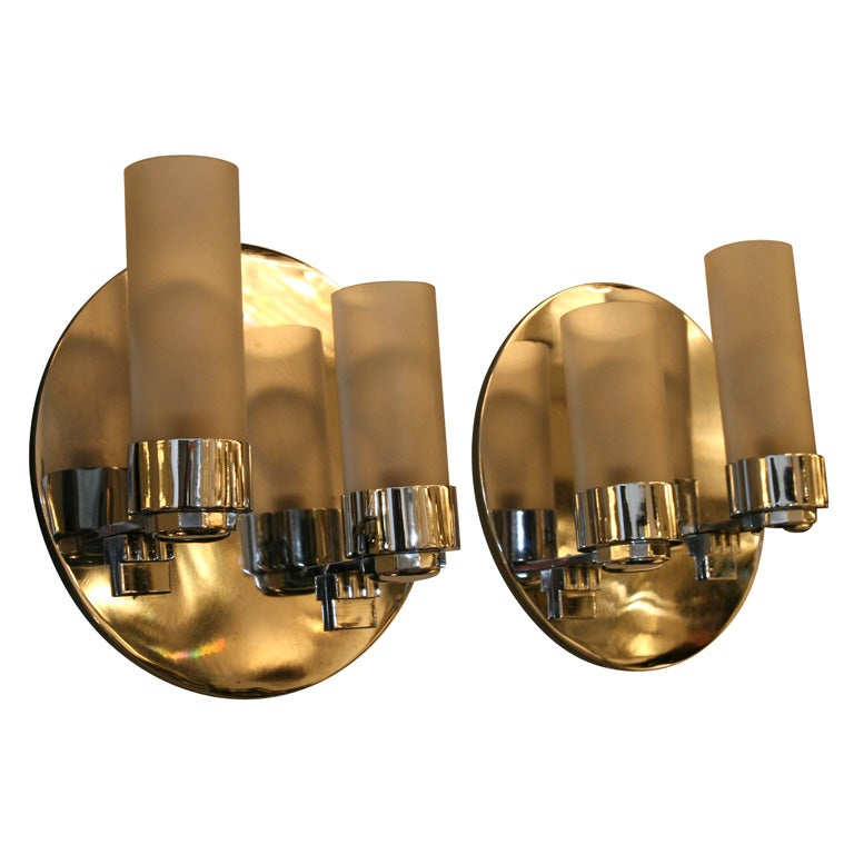 Wall Sconce Frosted Glass : Pair of Machine Age Chrome and Frosted Glass Sconces at 1stdibs