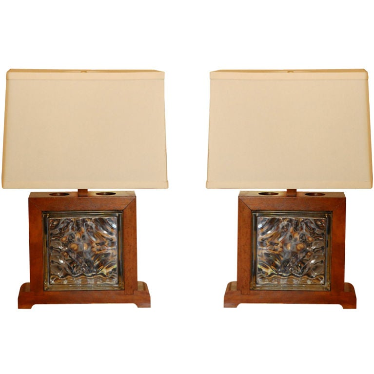 Wood And Glass Block Table Lamps At 1stdibs
