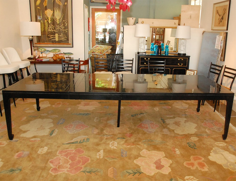Vintage Baker Asian Inspired Black Lacquered Dining Table At 1stdibs