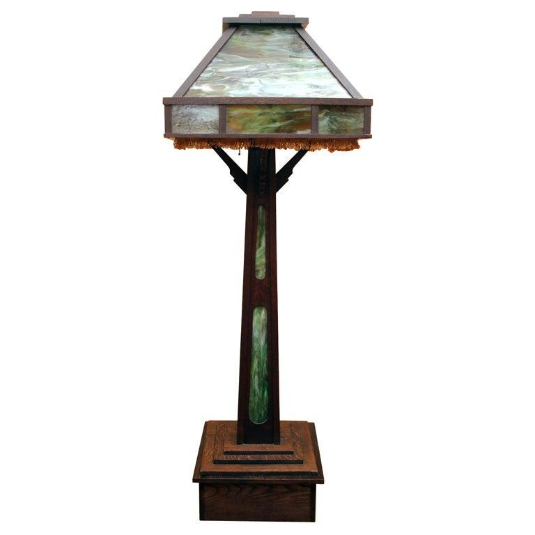 arts and crafts large floor lamp at 1stdibs. Black Bedroom Furniture Sets. Home Design Ideas