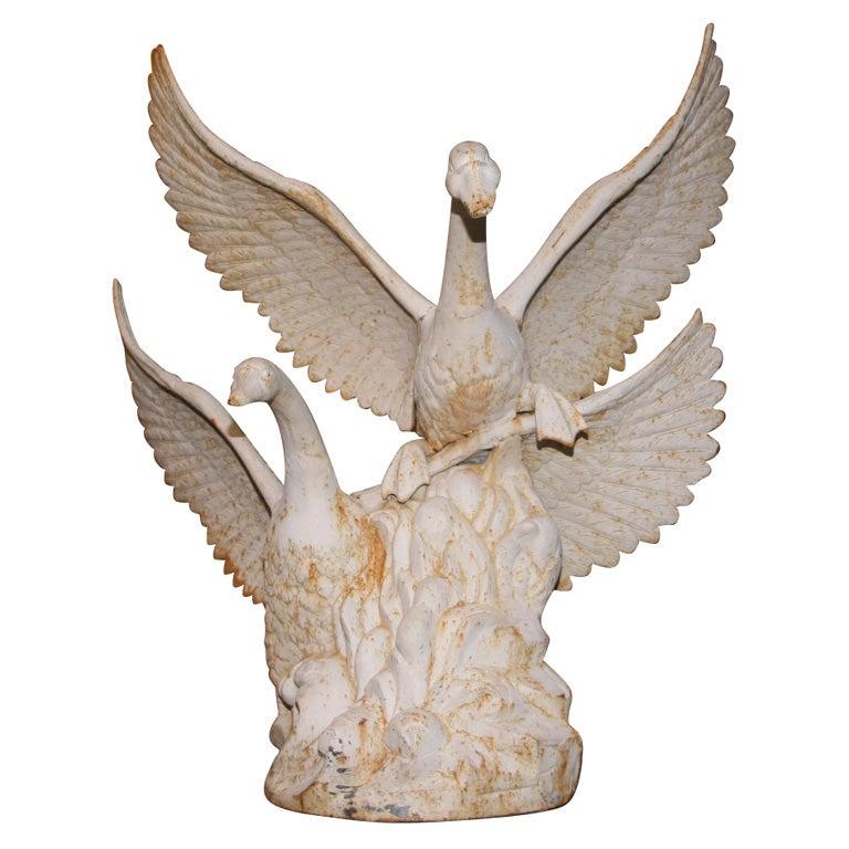 Cast iron garden sculpture of swans taking flight at 1stdibs - Wrought iron garden sculptures ...