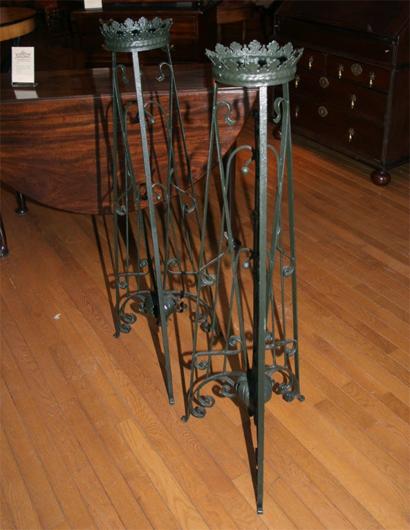 Pair Of Art Nouveau Wrought Iron Tall Plant Stands At 1stdibs