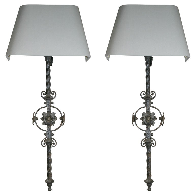 Antique Wall Light Parts : Iron Sconces Made From Antique Architectural Parts at 1stdibs