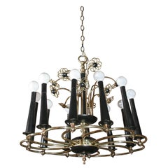 Midcentury Brass and Wood Floral Chandelier