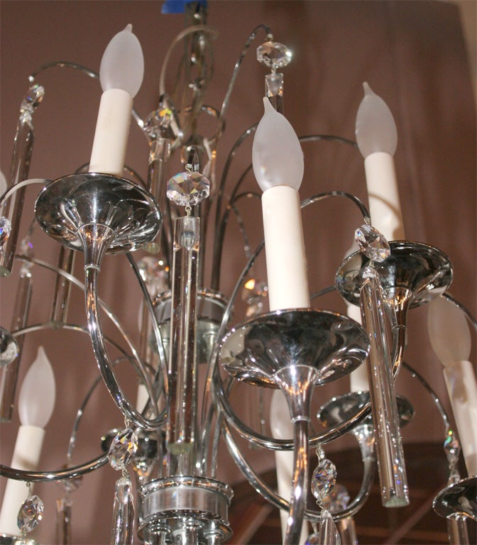 Mid-Century Modern Midcentury Chrome and Crystal Chandelier For Sale