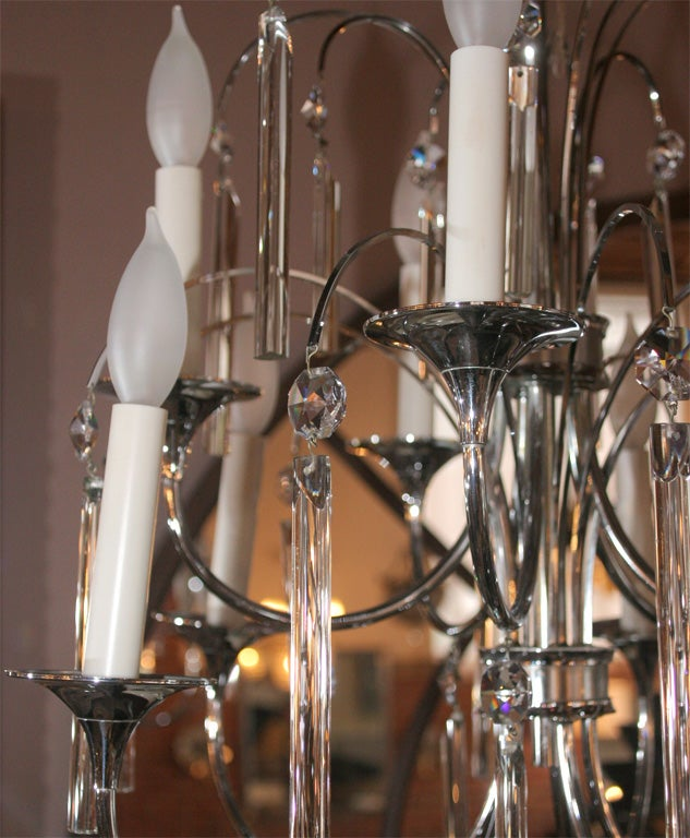 Midcentury Chrome and Crystal Chandelier In Good Condition For Sale In New York, NY