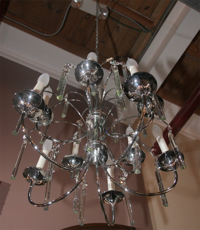 Midcentury Chrome and Crystal Chandelier For Sale 2