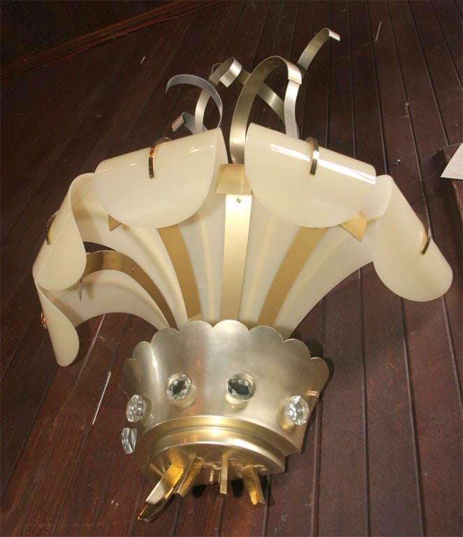 Pair of French Lucite and Metal Sconces For Sale 2