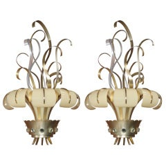 Spectacular Pair of French Lucite Sconces