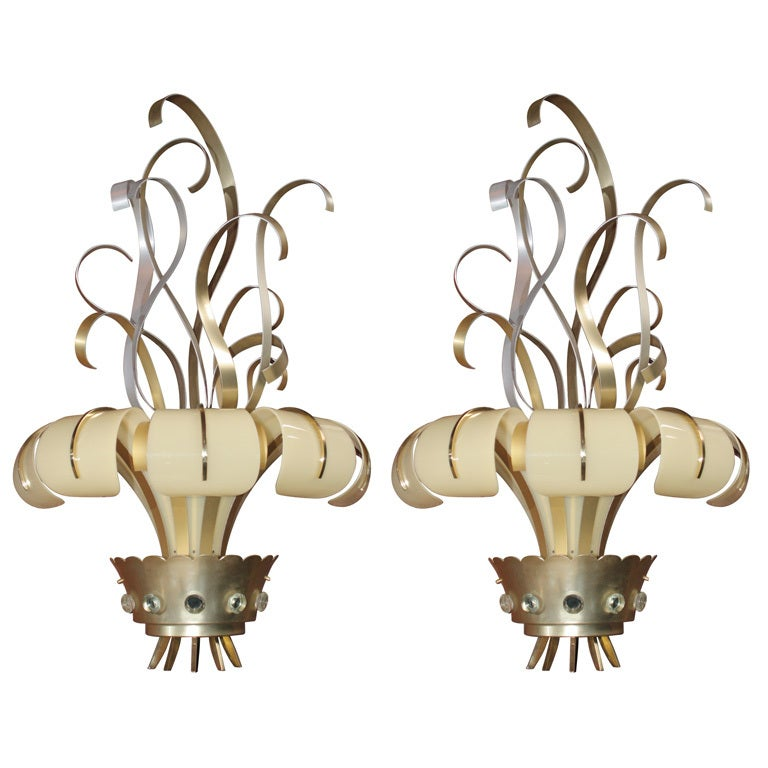 Pair of French Lucite and Metal Sconces For Sale