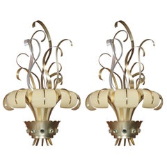 Pair of French Lucite and Metal Sconces