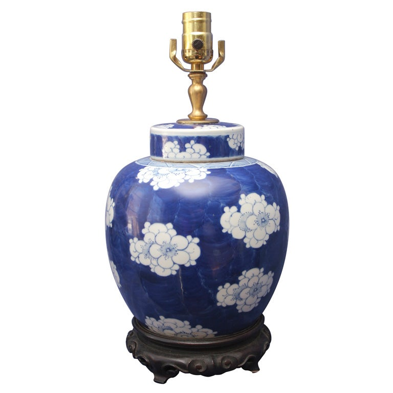 chinese blue and white covered ginger jar at 1stdibs. Black Bedroom Furniture Sets. Home Design Ideas