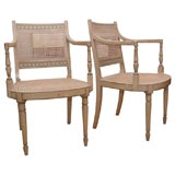 Pair of Italian painted wood frame and cane armchairs